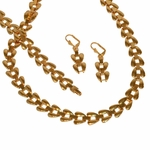 "1-6313-e11 Gold Plated Wide Link Necklace Earrings and Bracelet Set. 12mm Wide, 20"" necklace, 7.5"" bracelet, 2"" earrings."