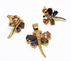 "1-6295-f10 18kt Brazilian Gold Layered CZ Dragonfly Earring and Pendant Set. 1"" pendant, 3/4"" earrings. 2 colors available."