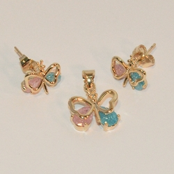 1-6318-e6 Sparkling CZ Butterfly Earring and Pendant Set