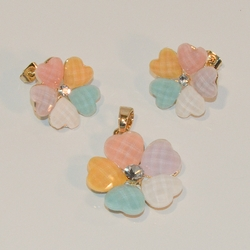 1-6323-e7 Gold Plated Faceted Pastels Hearts Earring and Pendant Set. 23mm pendant.