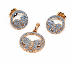 1-6326-f11 18kt Brazilian Pink Gold Layered Butterfly Circle Earring and Pendant Set with Turquoise Blue Stones. 18mm.