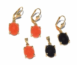 1-6331-f4 18kt Brazilian Gold Layered Earring and Pendant Set with Faceted Stone