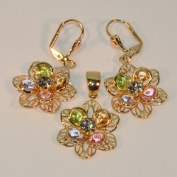 1-6157-e16 Multicolor Flower Earring and Pendant Set 20mm