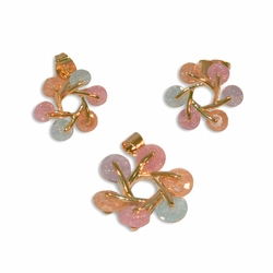 1-6341-e10 Gold Plated Flower Design Earring and Pendant Set with Multicolor Stardust Stones. 20mm pendant, 14mm earrings.