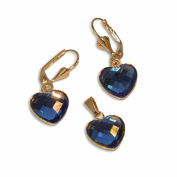 "1-6342-e10 Gold plated Crystal Heart Earring and Pendant Set. 1.25"" earring length, 13mm hearts. 4 colors available."