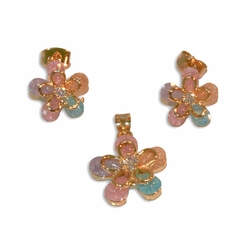 1-6343-e10 Gold Plated Flower Earring and Pendant Set with Multicolor Stardust Stones. 16mm pendant, 12mm earrings.