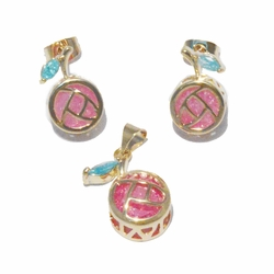 1-6343-f2 18kt Brazilian Gold Layered Fruit Multicolor  Earring and Pendant Set with Ice Stone.