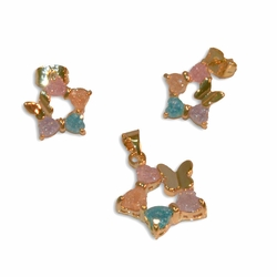 1-6346-e10 Gold Plated Star Butterfly Earring and Pendant Set with Multicolor Stardust Stones. 17mm pendant, 12mm earrings.