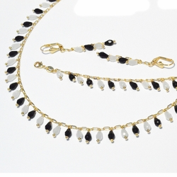 1-6346-f2 18kt Brazilian Gold Layered Black and White Dangling Faceted Stone Set.