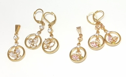 "1-6346-f6 18kt Brazilian Gold Layered CZ Butterfly Earring and Pendant Set. Pendant 1.5"" inches and 15mm circle."