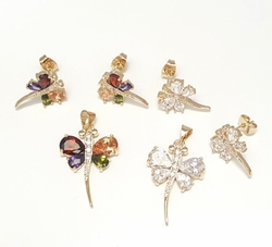 1-6295-f6 18kt Brazilian Gold Layered CZ Dragonfly Earring and Pendant Set. 12mm earrings, 1.25 inch pendant.