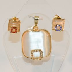 1-6351-e7 Gold Plated Earring and Pendant Set. Pendant 28mm. 3 colors available.