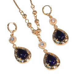 1-6352-f2-blue 18kt Gold Layered Earring and Necklace Set with Stone.