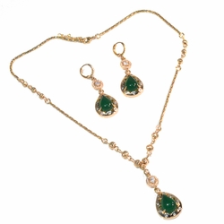 1-6352-f2-green 18kt Gold Layered Earring and Necklace Set with Stone.