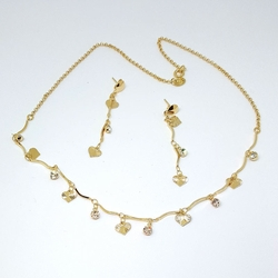 1-6352-f5 Gold Filled Heart and Crystals Set