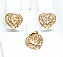 1-6352-g1 Fancy Baguette Hearts Earring and Pendant Set. 15mm.