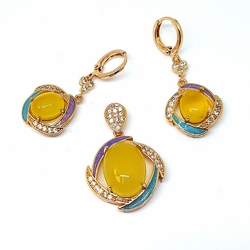 1-6365-f5 Gold Layered Yellow Stone Set