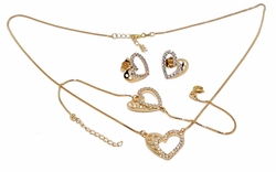 "1-6366-f9 18kt Gold Plated CZ Heart Design Set. 15mm Hearts. Necklace 16"" to 18"" adjustable length. Bracelet 7"" to 8"" adjustable."