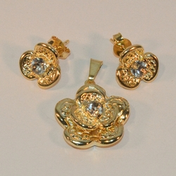 1-6374-e6 Flower Earring and Pendant Set (18mm pendant)