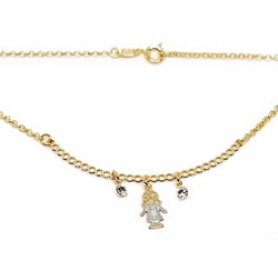 "1-6375-f12 18kt Brazilian Gold Filled 18"" Necklace with Two Tone ""My Girl"" Charm."