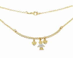 "1-6375-f212 18kt Brazilian Gold Filled 18"" Necklace with Two Tone ""My Boy"" Charm."