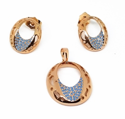 "1-6376-f11 18kt Brazilian Pink Gold Layered ""O"" Design Earring and Pendant Set with Turquoise Blue Stones. Earrings 15mm, pendant 20mm."