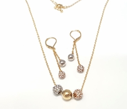 1-6380-f6 18kt Brazilian Gold Layered Three Tone Necklace and Earring Fireball Set. Necklace 18 inches, earrings 2 inches.