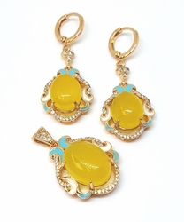 1-6393-f5 18kt Brazilian Gold Layered Yellow Stone Set with Crystal Accents and Colored Enamel Designs