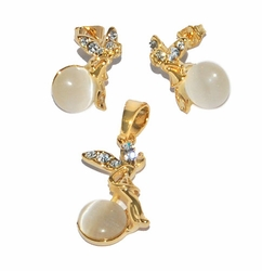 1-6394-D1-WHT White Fairy Earring and Pendant Set