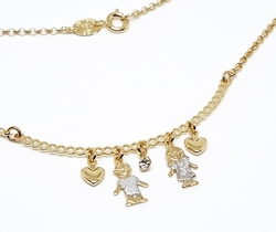 "1-6394-f10 18kt Brazilian Gold Filled ""My Kids"" Two Tone Necklace. 18"" necklace, 1/2"" kid charms."