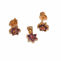 1-6396-e11 Gold Plated tiny Purple Flower Earring and Pendant Set. 7mm.