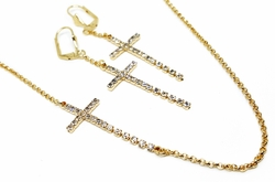 "1-6401-f12 18kt Brazilian Gold Filled 18"" Necklace and 2-1/2"" Earring Set. Crystals Cross Design."