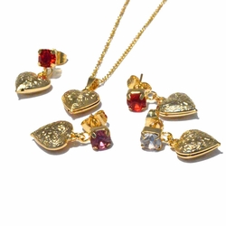 1-6402-f4 18kt Brazilian Gold Layered Heart Earring, Pendant and Chain Setwith Colored Crystal. 3 colors available.