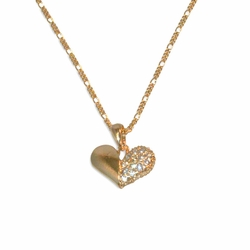 "1-6406-e12 Gold layered, heart pendant and necklace set, 18"" length, 17mm heart,"