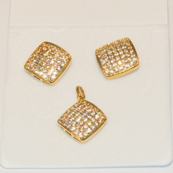 1-6410-e4 Micro Pave CZ Earring and Pendant Set