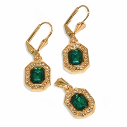 """1-6410-e8 Gold Plated Crystals Earring and Pendant Set. 4 colors available. Earrings 1.25"""" in length and pendant is 12mm."""