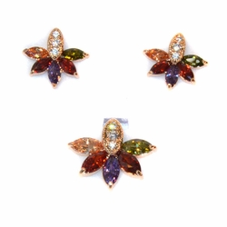 1-6420-e11 Gold Plated Earring and Pendant Dark Multicolor CZ Set. Earring are 14mm, pendant is 18mm.