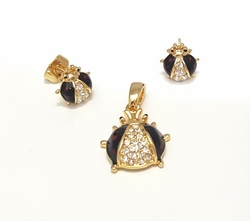 1-6430-f6 18kt Brazilian Gold Layered Lady Bug Earring and Pendant Set. Earrings 9mm, Pendant 13mm.