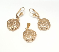1-6432-f6 18kt Brazilian Gold Layered Caged CZs Rose Earring and Pendant Set. 17mm pendant, 1.5 inch earrings.