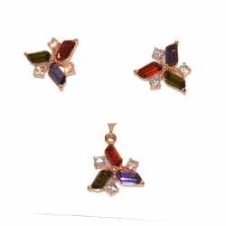 1-6436-e11 Gold Plated Trianglular Earring and Pendant Dark Multicolor CZ Set. 15mm.