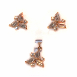 1-6436-e211 Gold Plated Trianglular Earring and Pendant White CZ Set. 15mm.