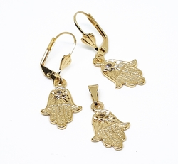 "1-6436-f10 18kt Brazilian Gold Layered Hamsa Earring and Pendant Set. 1.5"" earrings, 1"" pendant."