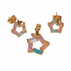 1-6446-e11 Gold Plated Earring and Pendant Multicolored ICE CZ Set with Butterfly. Earrings 11mm, Pendant 16mm.