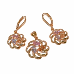 1-6447-e11 Gold Plated Multicolored CZ Earring and Pendant Set. Earrings 15mm, Pendant 19mm.