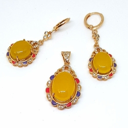 1-6448-f5 Gold Layered Yellow Stone Set