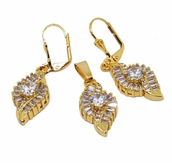 1-6455-f7 18kt Brazilian Gold Layered Fancy Baguette CZ Earring and Pendant Set. Earrings 1.75 inches, Pendant 1.25 inch.