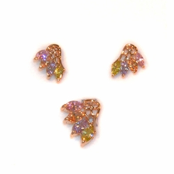 1-6466-e11 Gold Plated Multicolor CZ Earring and Pendant Set. Earrings 12mm, Pendant 20mm.