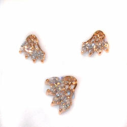 1-6466-e211 Gold Plated White CZ Earring and Pendant Set. Earrings 12mm, Pendant 20mm.