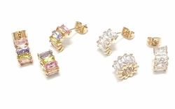 1-6471-f6 18kt Brazilian Gold Layered CZ Earring and Pendant Set. Circle Pendant 6mm x 10mm.