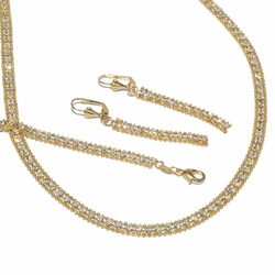 1-6473-f2 18kt Brazilian Gold Layered Stunning Necklace Earrings and Bracelet Set with Crystals.